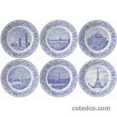 Coffret 6 assiettes dessert 19.8cm - Monuments de Paris